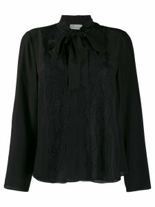 Red Valentino lace-trimmed pussy-bow blouse - Black
