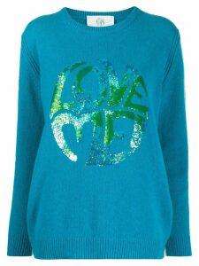 Alberta Ferretti sequin embroidered jumper - Blue