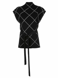 Proenza Schouler belted checked knitted top - Black