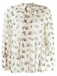 Luisa Cerano pussybow embroidered blouse - NEUTRALS
