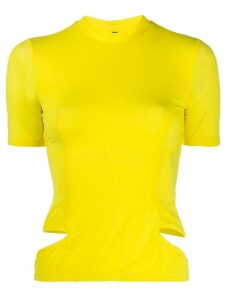 Unravel cut-out slim-fit T-shirt - Yellow