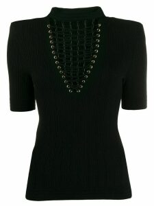 Balmain rib-knit lace-up top - Black