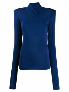 Unravel Project mock-neck long sleeve top - Blue