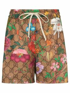 Gucci GG Flora print drawstring shorts - Brown