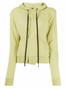 Unravel Project slim-fit pintuck hoodie - Green