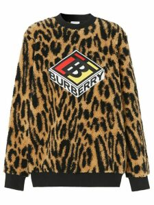 Burberry graphic logo leopard print sweatshirt - Brown