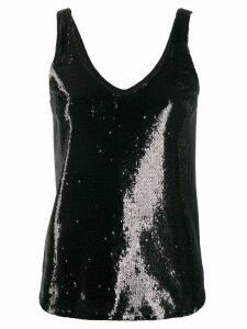 Blanca Vita sequined V-neck tank top - Black