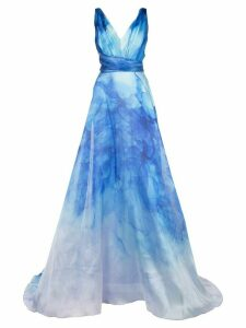 Marchesa Notte printed flared gown - Blue