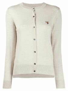 Maison Kitsuné crew-neck slim-fit cardigan - NEUTRALS