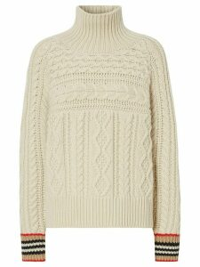 Burberry Icon striped cuffs cable jumper - NEUTRALS