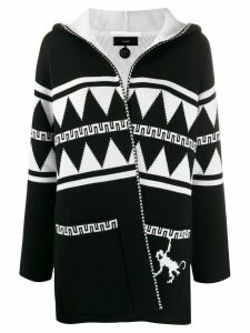 Alanui geometric hooded cardigan - White