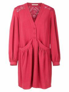 Martha Medeiros long sleeved shirt dress - Red