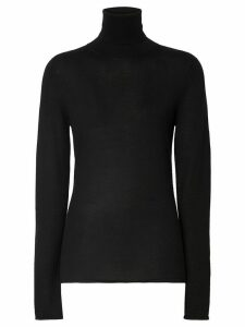Burberry embroidered logo roll neck jumper - Black