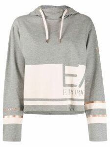 Ea7 Emporio Armani two-tone logo hoodie - Grey