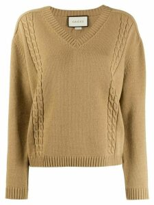 Gucci ribbed V-neck jumper - NEUTRALS