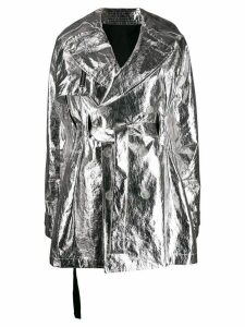 Unravel Project metallic belted trench coat - SILVER