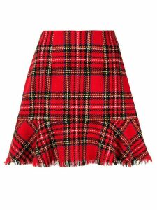 Macgraw Silence checked fluted hem skirt - Red