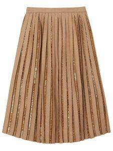 Burberry Crystal Detail Plissé Soleil Wool Silk Blend Skirt - NEUTRALS
