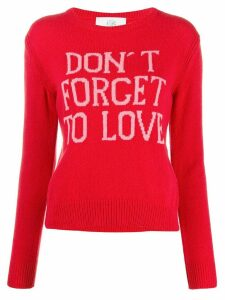 Alberta Ferretti slogan crew neck jumper - Red
