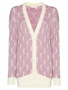 See by Chloé intarsia knit honeycomb pattern cardigan - PINK