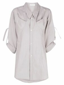 Delada boxy fit pin-up sleeve shirt - Grey