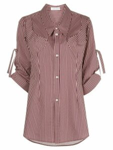 Delada striped mid-length shirt - Red