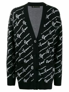 Versace all over logo cardigan - Black