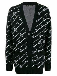 Versace all over logo cardigan - Black