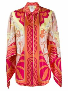 Emilio Pucci printed draped sleeves blouse - ORANGE