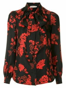 Tory Burch Printed Bow Blouse - Black