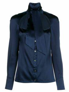 Fleur Du Mal front cut-out silk shirt - Blue