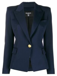Balmain fitted one button blazer - Blue
