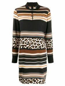 DKNY mixed-print midi dress - Brown