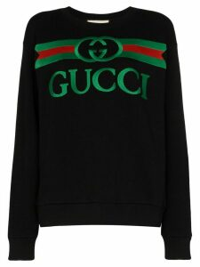 Gucci logo print cotton sweatshirt - Black