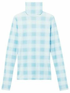 Proenza Schouler White Label Diffused Gingham Jersey Long Sleeve