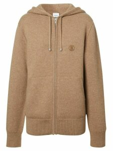 Burberry Monogram Motif Cashmere Blend Hooded Top - NEUTRALS