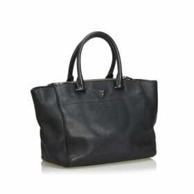 Prada Black Leather City Twin Pocket Satchel