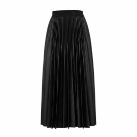 Givenchy Black Pleated Faux-leather Midi Skirt