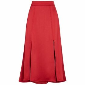 Stine Goya Jada Red Satin Midi Skirt