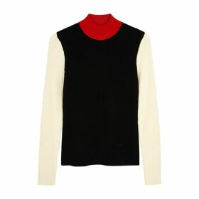 Tory Burch Colour-blocked Wool-blend Jumper