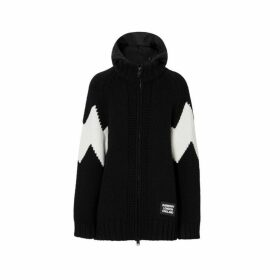 Burberry Detachable Hood Two-tone Wool Cashmere Cardigan