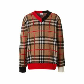 Burberry Check Merino Wool Jacquard V-neck Sweater