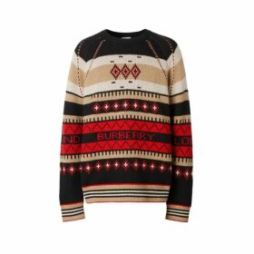 Burberry Icon Stripe Detail Fair Isle Cashmere Sweater