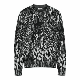 Saint Laurent Leopard-intarsia Wool-blend Jumper
