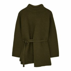 Vince Dark Green Ribbed Wool-blend Jumper