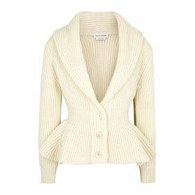 Alexander McQueen Ivory Peplum Wool-blend Cardigan