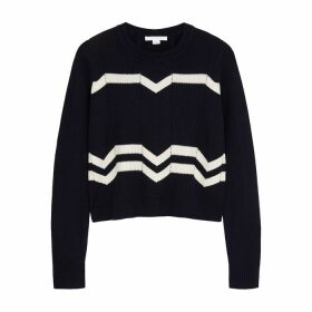 Duffy Navy Zigzag-intarsia Cashmere Jumper