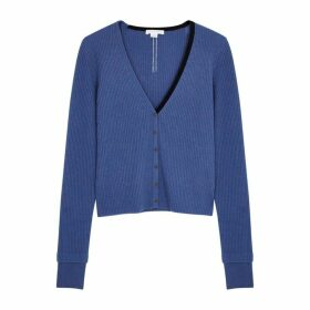 Duffy Blue Ribbed Cashmere Cardigan
