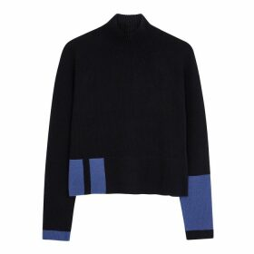 Duffy Navy Ribbed Cashmere Jumper