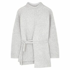 Vince Grey Ribbed Wool-blend Jumper